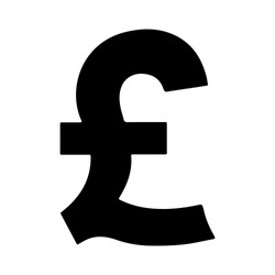 Basic Currency icon symbols sign : Great Britain pound sterling GBP vector illustration in black and white.