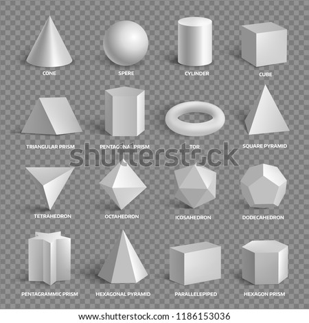 Basic 3D geometric shapes collection with names. Square, rectangle, circle, cube, sphere, cone and other regular forms set. Vector realistic illustration isolated from background