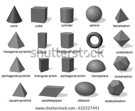Basic 3d geometric shapes. Isolated on white background.Vector illustration.