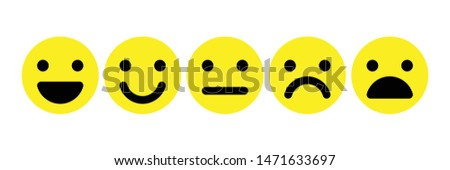 Basic emoticons set. Five facial expression of feedback scale - from positive to negative. Simple yellow vector icons.