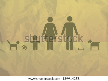 Basic family on a crumpled paper - illustration