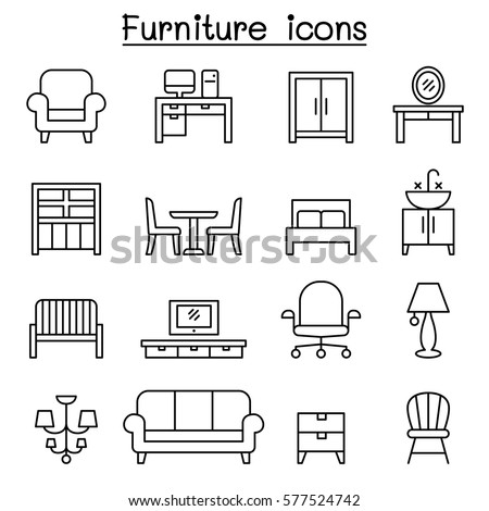 basic furniture icon set in