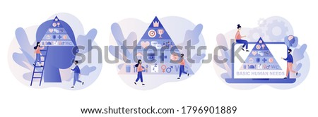 Basic human needs. Maslow hierarchy pyramid.Tiny people and triangle pyramid with physiological, safety, belonging love social esteem and self actualization levels structure scheme.Vector illustration Foto stock ©