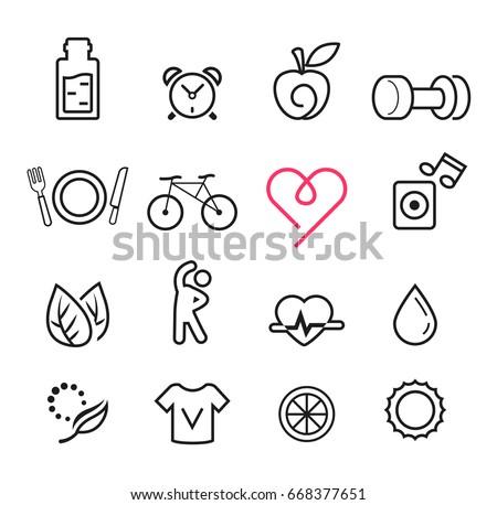 Basic icon exercise set. Modern lifestyle thin design. Maintaining quality of life.