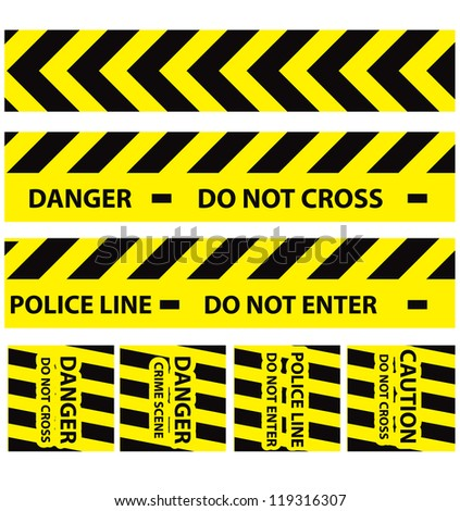 Basic illustration of police security tapes yellow with black a lot kinds of stickers and templates vector illustration danger signs