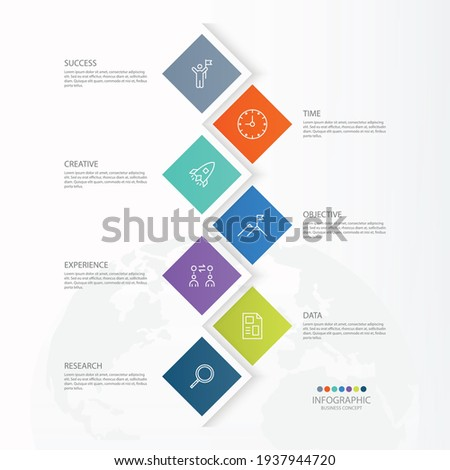 Basic infographic template with 7 steps, process or options, process chart, Used for process diagram, presentations, workflow layout, flow chart, infograph. Vector eps10 illustration.