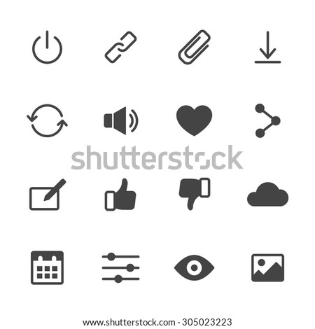Basic interface icons set 2. Simple flat vector web icons set on white background