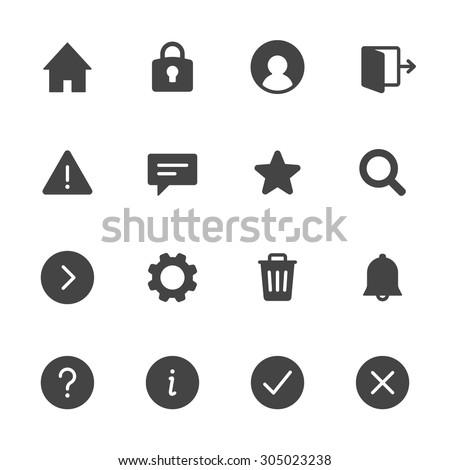 Basic interface icons set 1. Simple flat vector web icons set on white background