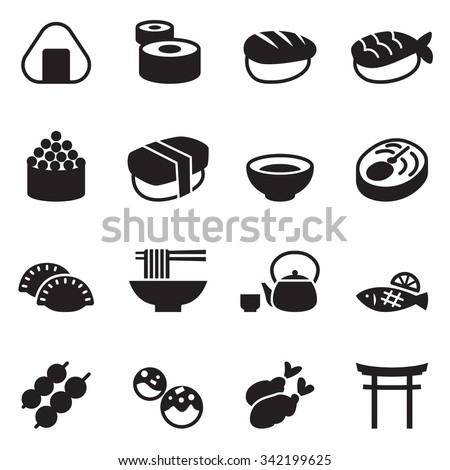 basic japanese food icons set