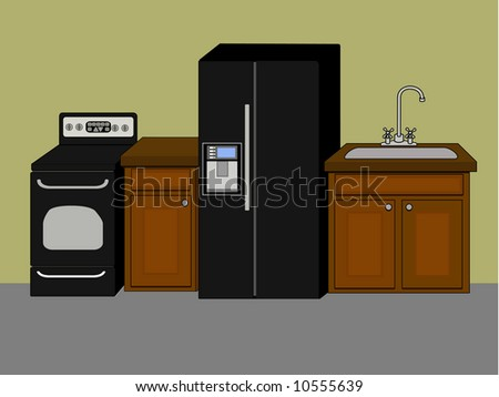Basic kitchen appliances and fixtures against wall