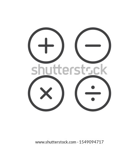 Basic mathematical, calculation sign. Vector icon template