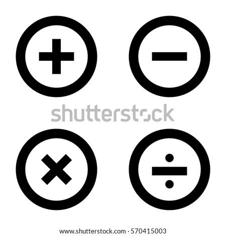 Basic Mathematical symbols on white background