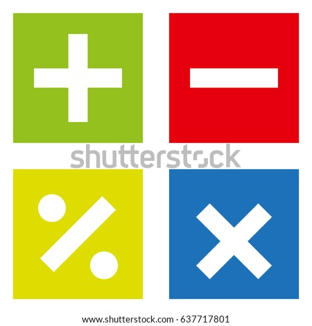 Basic Mathematical symbols on white background