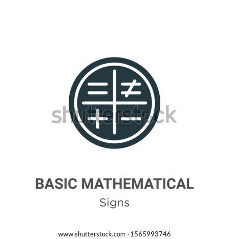 Basic mathematical symbols vector icon on white background. Flat vector basic mathematical symbols icon symbol sign from modern signs collection for mobile concept and web apps design.