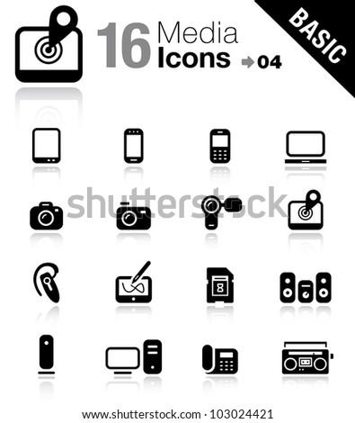 Basic - Media Icons - stock vector