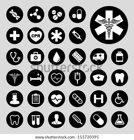 Basic medical vector icon set
