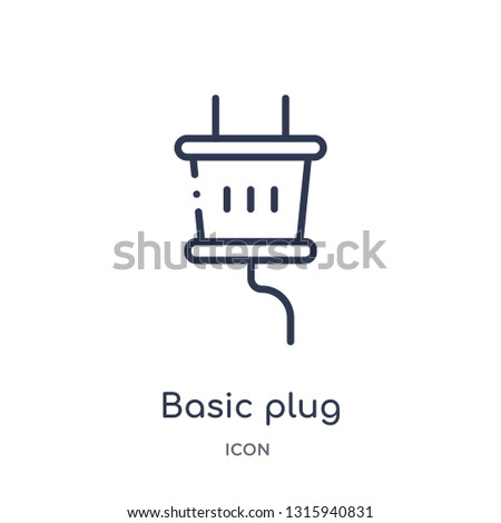 basic plug icon from technology outline collection. Thin line basic plug icon isolated on white background.