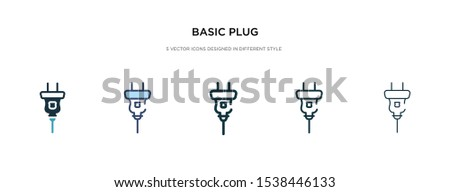 basic plug icon in different style vector illustration. two colored and black basic plug vector icons designed in filled, outline, line and stroke style can be used for web, mobile, ui
