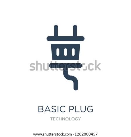 basic plug icon vector on white background, basic plug trendy filled icons from Technology collection, basic plug vector illustration