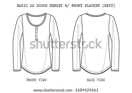 Basic Scoop Henley w/ Front Placket Stock fotó ©