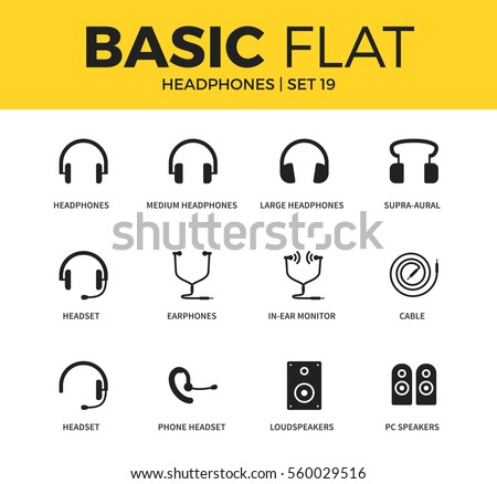 Basic set of loudspeakers, earphones and PC speakers icons. Modern flat pictogram collection. Vector material design concept, web symbols and logo concept.