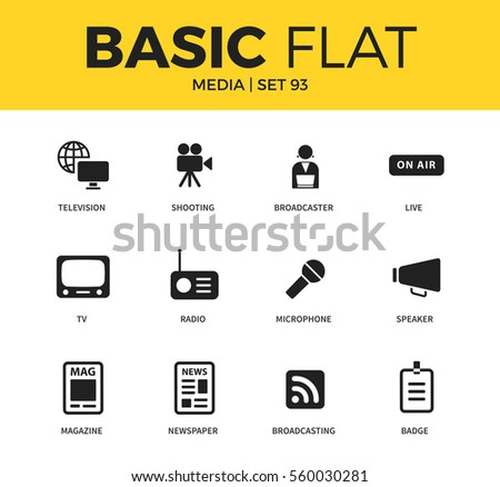 Basic set of radio, newspaper and microphone icons. Modern flat pictogram collection. Vector material design concept, web symbols and logo concept.