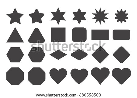 Basic shape elements with sharp and rounded edges vector set.