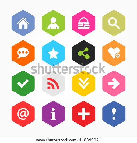 Basic sign icon set. Simple rounded hexagon internet button gray background. Solid plain monochrome color flat tile. Minimal modern metro style. Vector illustration web design elements saved 8 eps
