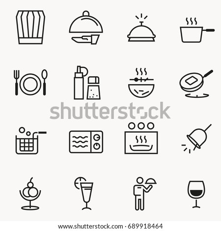 Basic Small restaurant icon concept slim style. Cooking for sale and service