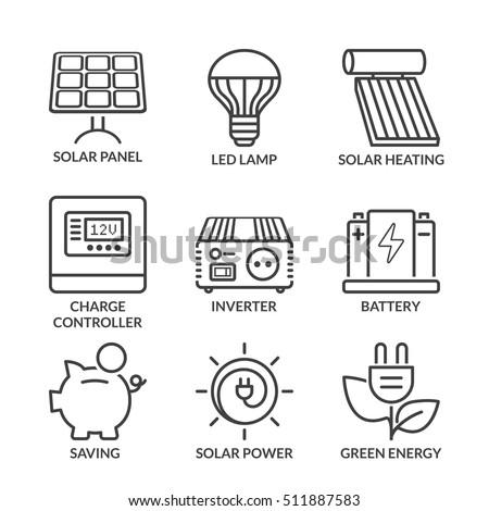 basic solar energy equipment, thin line icon set isolated. black color