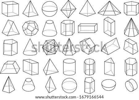 Basic stereometry shapes line set of cuboid octahedron pyramid prism cube cone cylinder torus isolated vector illustrationv