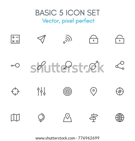Basic 5 theme, line icon set. Pixel perfect, fully editable stroke, black and white, vector icon set suitable for websites, info graphics, and print media.