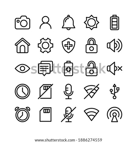 Basic UI Line Icons Including Camera, User, Bell, Sun, Battery, Home, Gear, Shield, Padlock, Speaker, Eye, Chat, Battery, Padlock, Speaker, Clock, Memory Card, Microphone, Wifi, Port, Clock, Memory Ca
