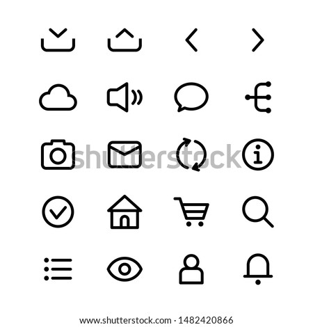 Basic UI vector graphics outline icons in black color