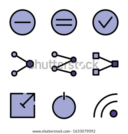 Basic user interface icon set outline include minus,check,link,power