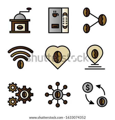 Basic vector coffee icon include grinder coffee,vending machine,link coffee,love coffee,pin coffee,gear coffee,link coffee,exchange coffee