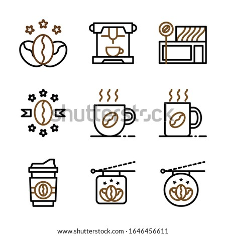 Basic vector coffee icon include star coffee,espresso,coffee store,premium coffee,mug and cup coffee,sign board coffee