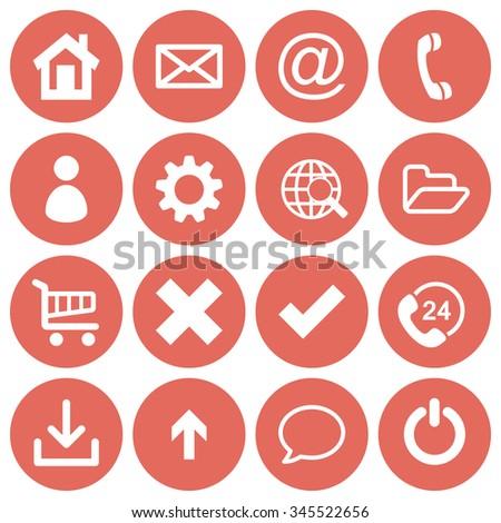 basic web icon set in round