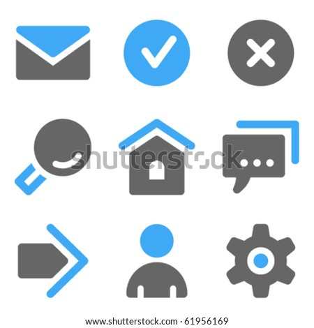 Basic web icons, blue and grey solid icons