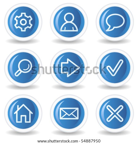 Basic web icons, blue glossy circle buttons