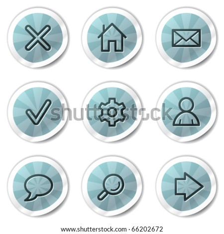 Basic web icons, blue shine stickers series