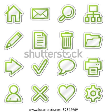 Basic web icons, green contour sticker series