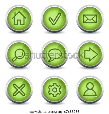 Basic web icons, green glossy set