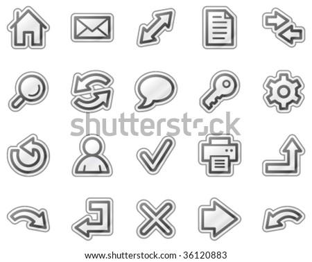 Basic web icons, grey sticker series