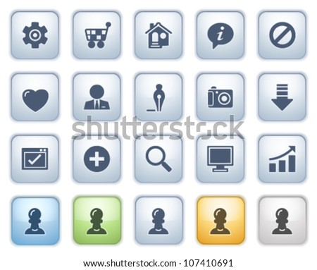 Basic web icons on buttons. Color series. - stock vector