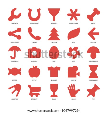 Basics red design shapes set. Simple pictogram collection of wrench, horseshoe, funnel, snowflake, bone, sharethis, phone, fir-tree, leaf, hourglass, sputnik, hourglass, sputnik, trolley, glass, hand