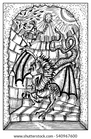 basilisk and knight in old