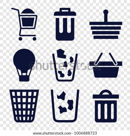 basket icons set of 9 editable