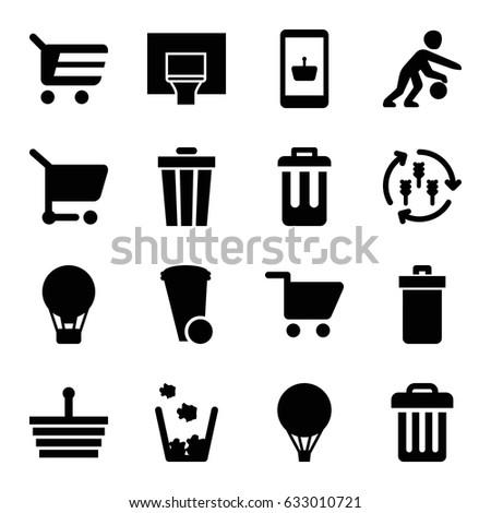 basket icons set set of 16