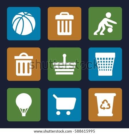 basket icons set set of 9